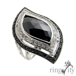 RingCity 水滴菱形黑色造型戒