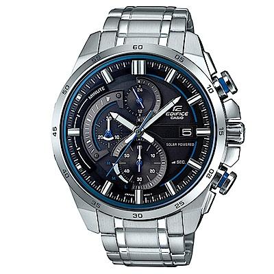 EDIFICE 流線速度3D感太陽能計時賽車錶(EQS-600D-1A2)-黑x藍圈49m