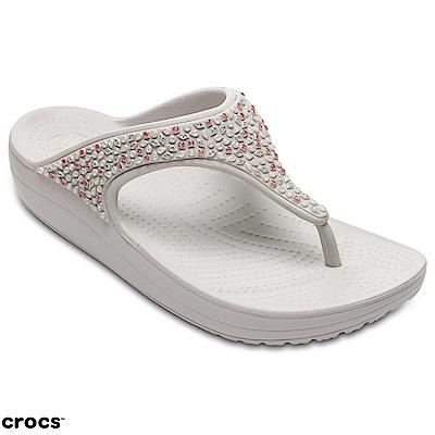 Crocs 卡駱馳 (女鞋) 思瓏厚底閃亮人字拖 204181-101