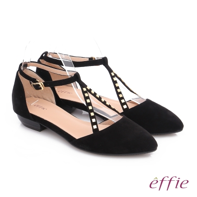 effie 都會舒適 時尚羊皮鉚釘交叉環扣淺口低跟鞋 黑
