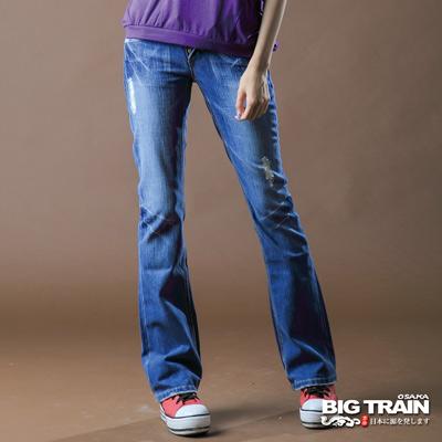 【BIG TRAIN】女款 日式繡花低腰靴型褲(淺藍)