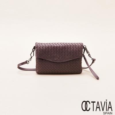 OCTAVIA 真皮 - 創作者 編織牛皮V字蓋格紋手拿斜背二用包 - 交心紫