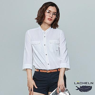 【LACHELN】輕柔雪紡彈力涼爽七分袖襯衫(L72W803)
