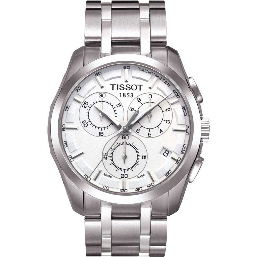 TISSOT天梭 Couturier建構師計時腕錶-白/39mm