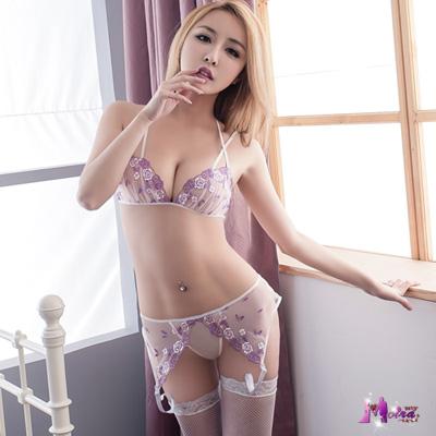 情趣內衣 紫白網紗刺繡情趣內衣四件組 Moira