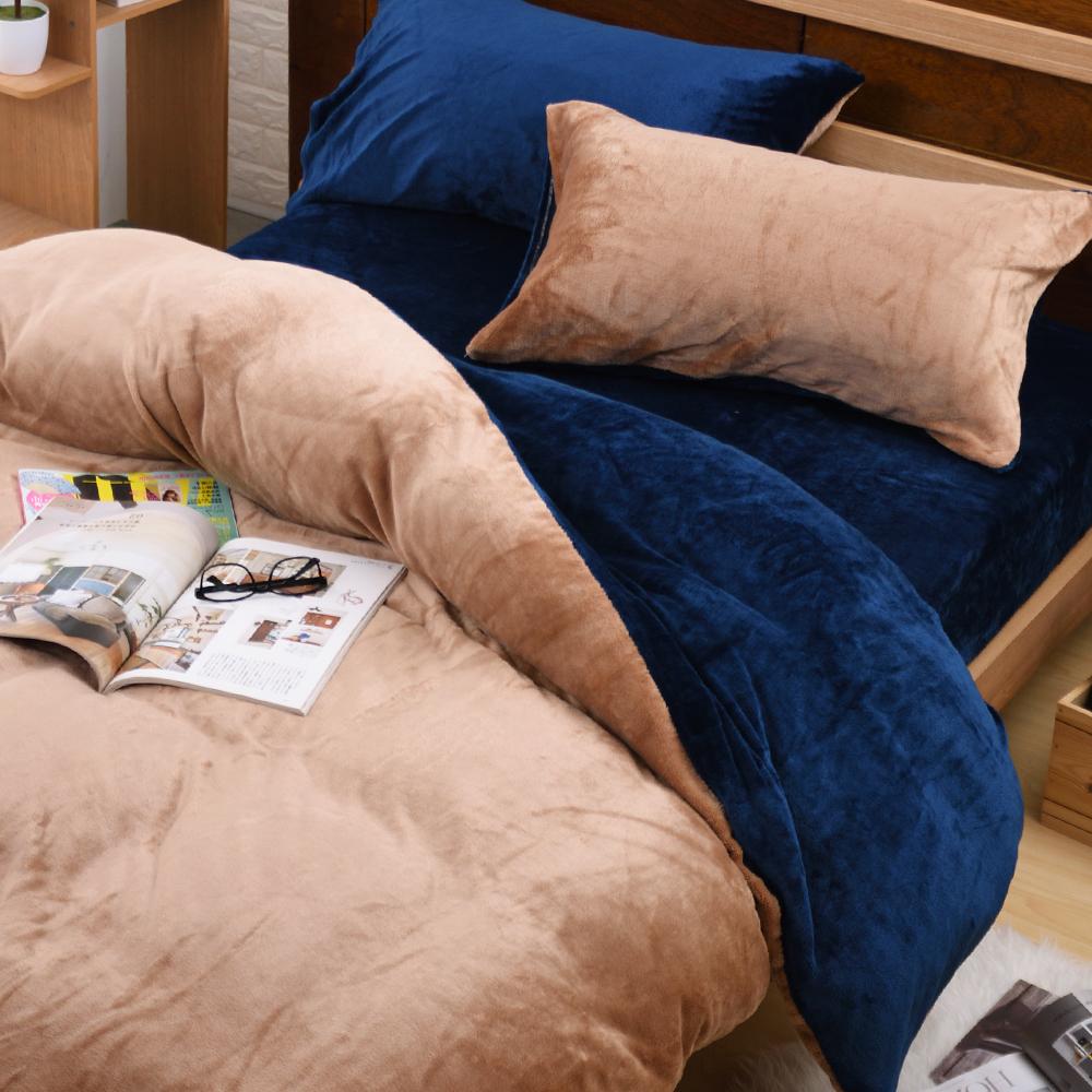 濱川佐櫻-原色經典 雙人四件式嚴選特厚法蘭絨兩用毯被床包組