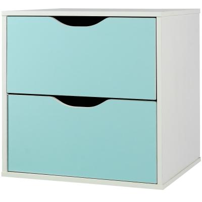 EASY HOME 魔術方塊雙抽收納櫃-冰河藍