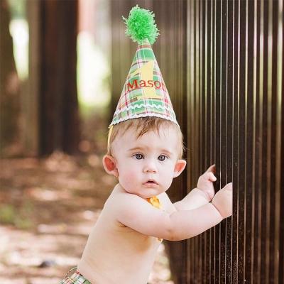 RuffleButts 綠紅格紋款 小小生日派對帽