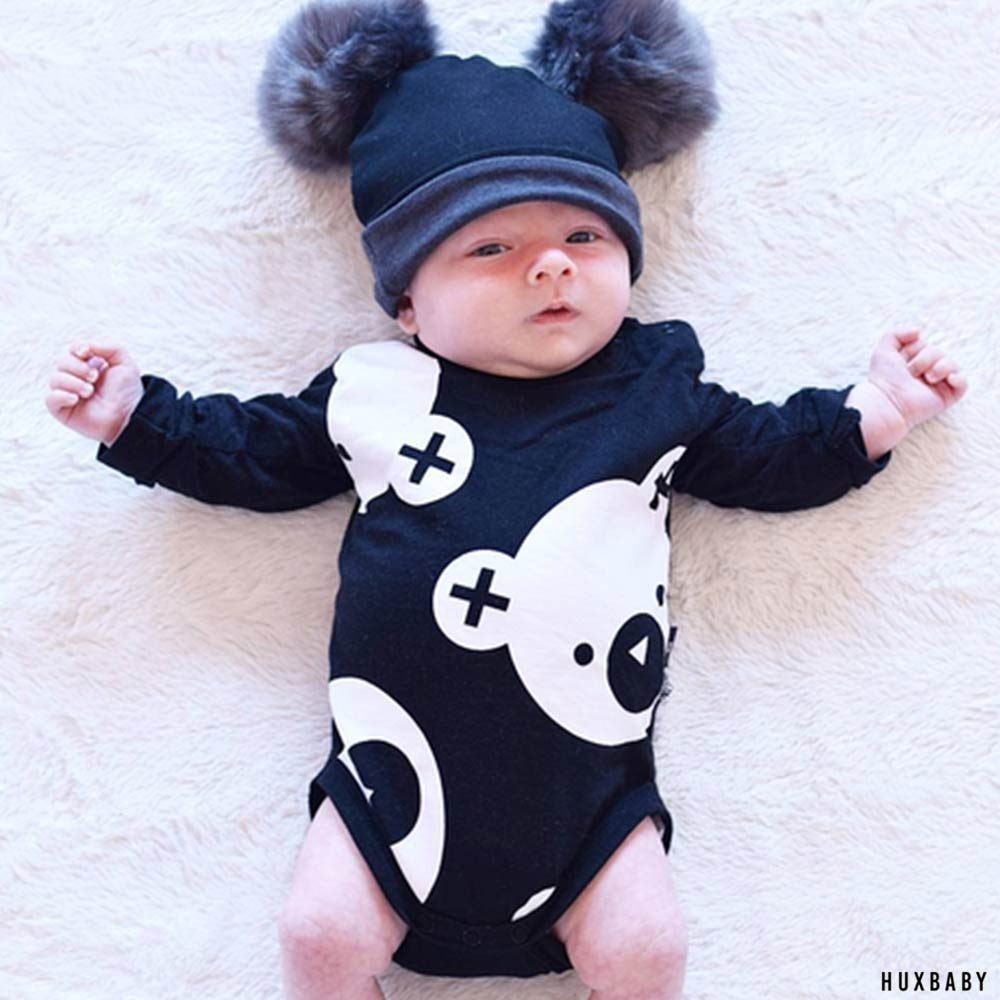 Huxbaby 澳洲 黑白小熊印花有機棉長袖包屁衣連身衣