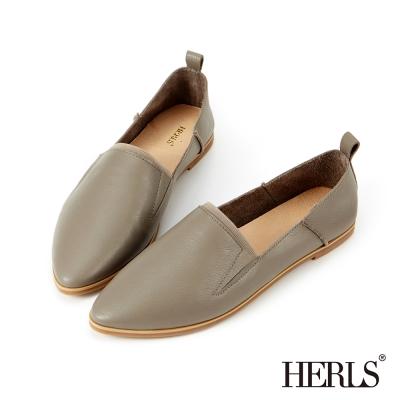 HERLS 全真皮 零著感好穿柔軟休閒樂福鞋-卡其色