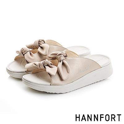 HANNFORT Ultra Comf 4D真絲蝴蝶結厚底拖鞋-女-柔霧金