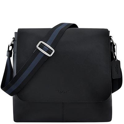 COACH-黑色皮革壓紋斜背包