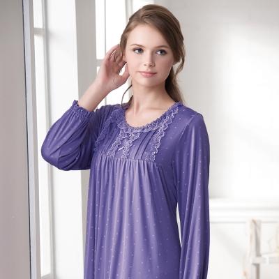羅絲美睡衣 - 幸福旅行長袖洋裝睡衣(深紫色)