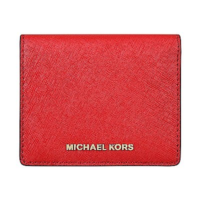 MK MICHAEL KORS MONEY PIECES金字LOGO防刮皮革釦式短夾(亮紅