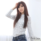 Victoria 格紋長版襯衫-女-白