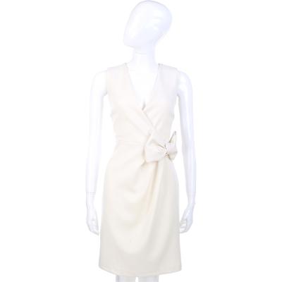 ANNA RACHELE 白色V領蝴蝶結飾洋裝
