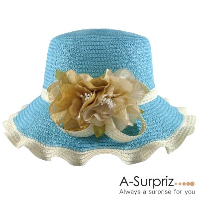 A-Surpriz 花漾美人波浪邊遮陽帽(天空藍)