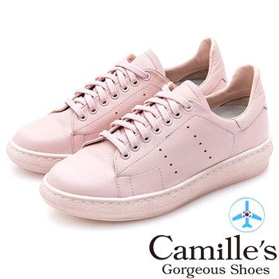 Camille's 韓國空運-正韓製-牛皮洞洞綁帶內增高休閒鞋-粉紅
