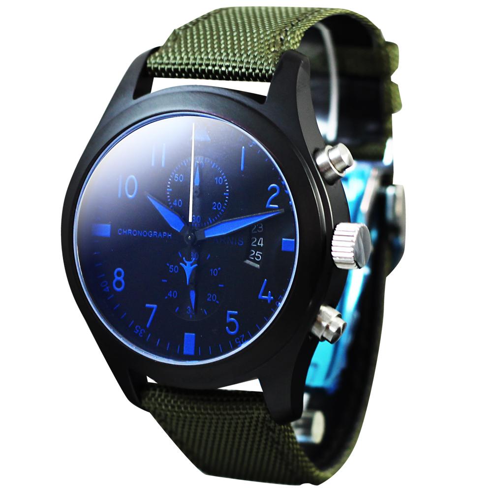 PARNIS 三眼計時飛行款 日期格窗 計時腕錶 PA3092 45mm