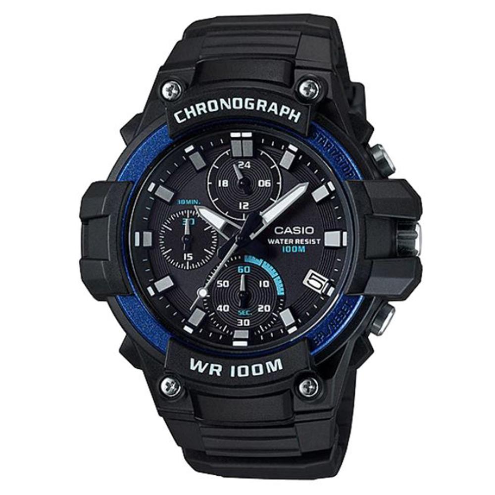 CASIO 粗曠有型實用必備經典三眼指針運動錶(MCW-110H-2A)藍框49.3m