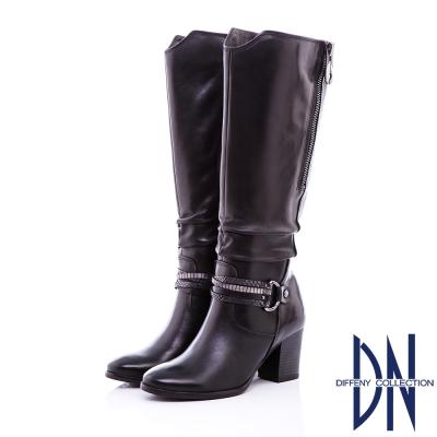DN率性時尚 MIT質感抓皺紋牛皮長靴 - 黑