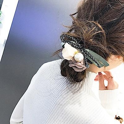 梨花HaNA 韓國浪漫線條玫瑰花卉綻放絲緞盤髮棒