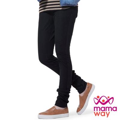 孕婦褲 長褲 孕期棉質磨毛彈力斜紋褲 Mamaway