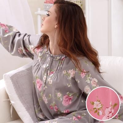 羅絲美睡衣 - 嬌豔動人繽紛長袖洋裝睡衣 (甜美粉)