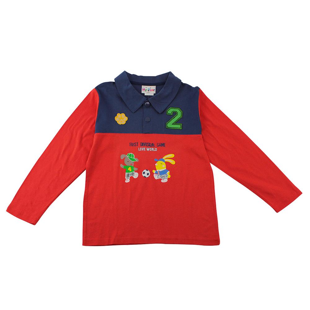 愛的世界 MYBEAR 純棉狗狗與小兔長袖POLO衫/8-10歲-台灣製-