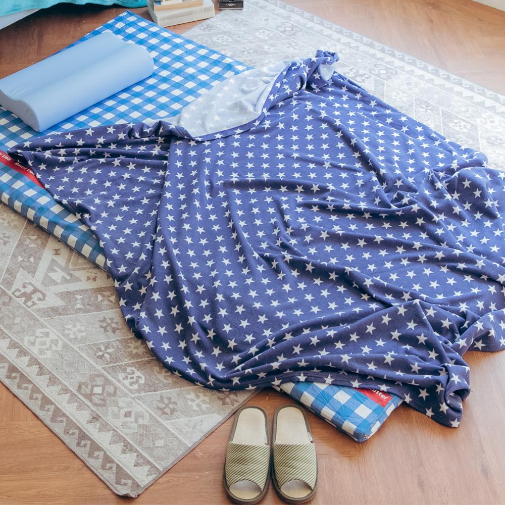 米夢家居-台灣製造-加長鄉村星星可水洗保暖搖粒絨毯/床單155*210公分-藍