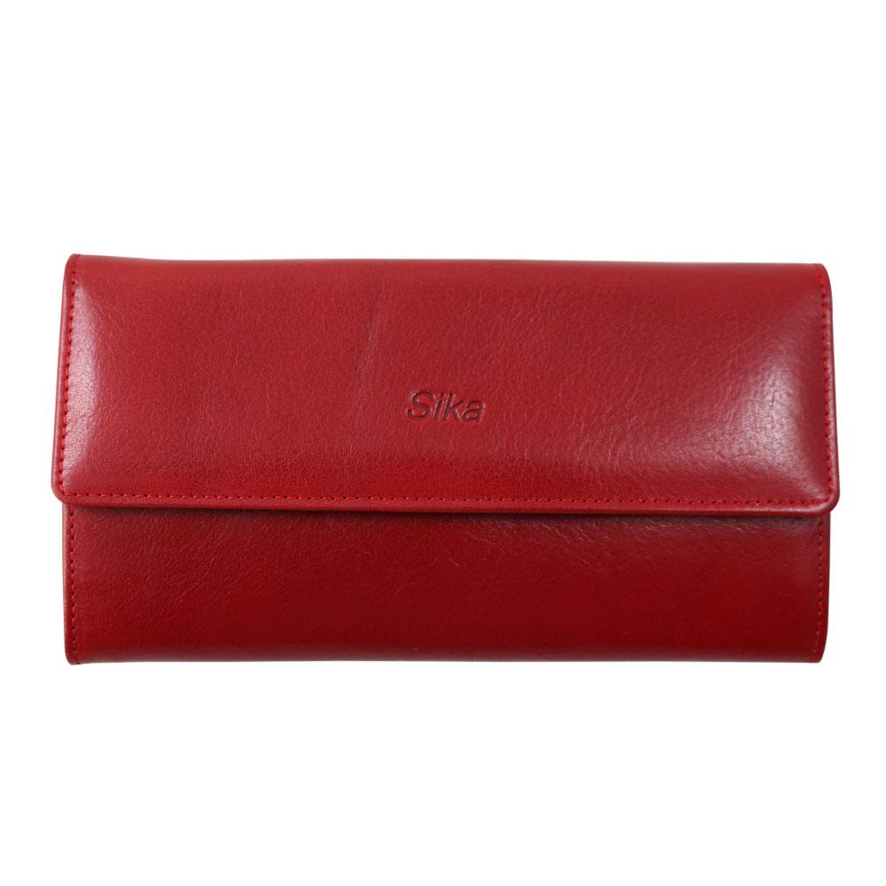 Sika義大利時尚真皮掀翻式壓扣長夾A8284-04魅惑紅