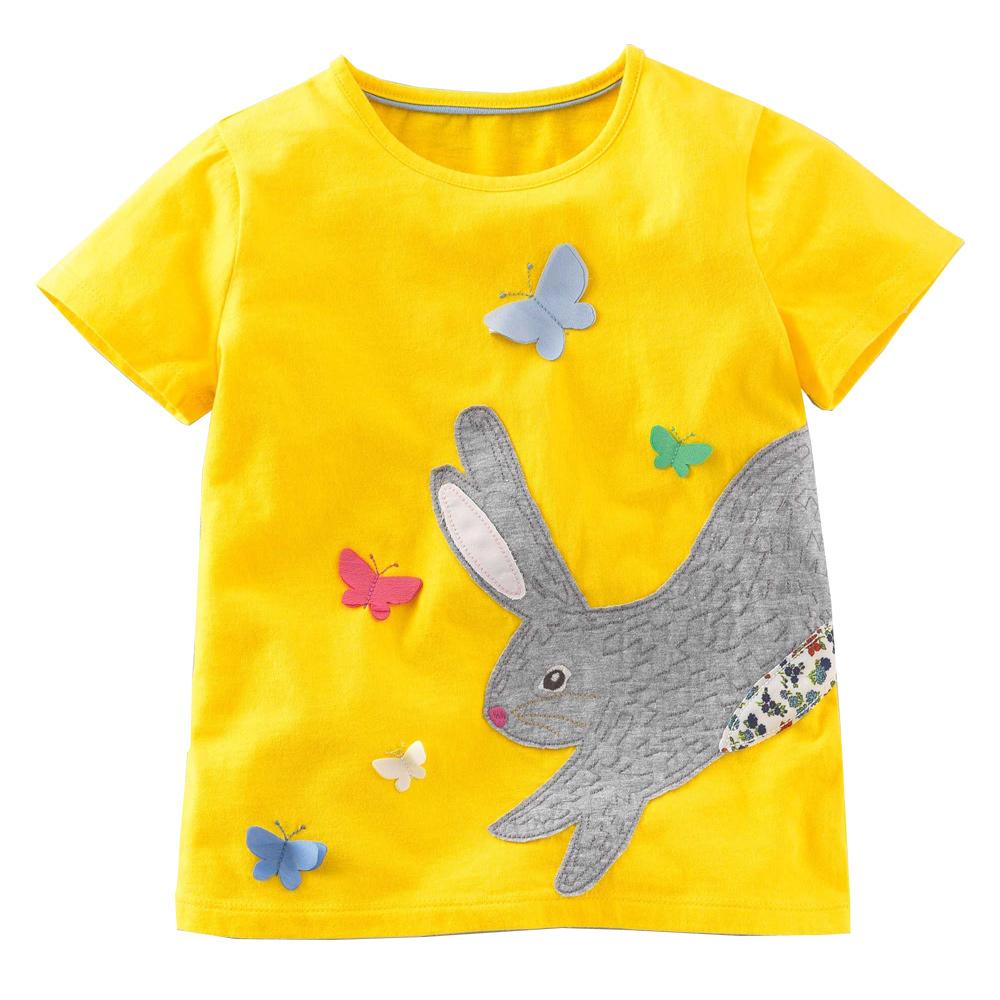 上衣 女童 玩耍兔 歐美經典兒童純棉短袖T恤
