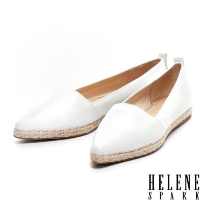 HELENE-SPARK-素面羊皮尖頭草編休閒鞋-白
