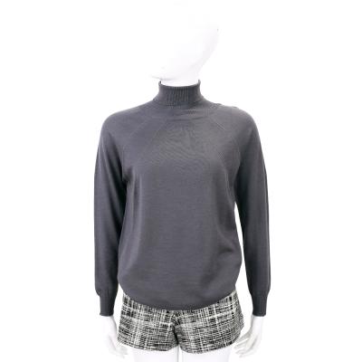 FABIANA FILIPP 深灰色銀飾條紋美麗諾羊毛高領針織上衣