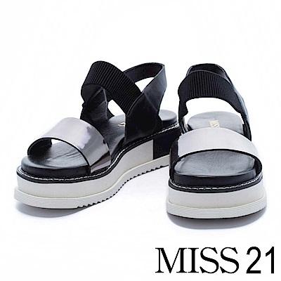 涼鞋 MISS 21 時尚潮流異材質設計撞色拼接厚底涼鞋-銀