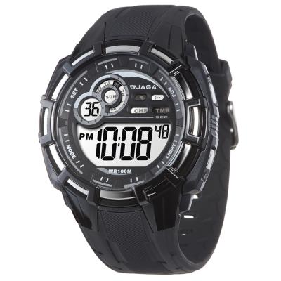 JAGA 捷卡 帥氣有勁多功能運動電子錶-黑灰/50mm