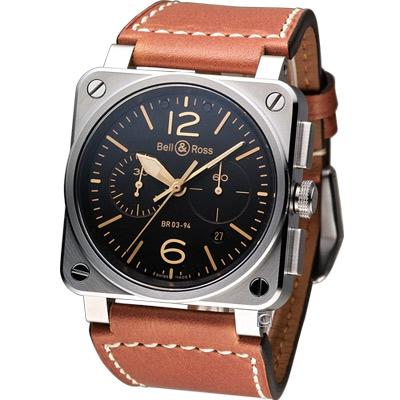 Bell & Ross 飛鷹戰士自動計時機械腕錶-黑x駝色錶帶/42mm
