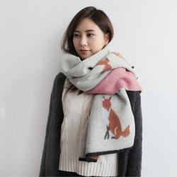梨花HaNA  韓國東大門小王子的可愛狐狸厚暖仿羊絨圍巾