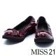 跟鞋 MISS 21 復古小蝴蝶結漆皮鬆緊帶低跟娃娃鞋-酒紅 product thumbnail 1