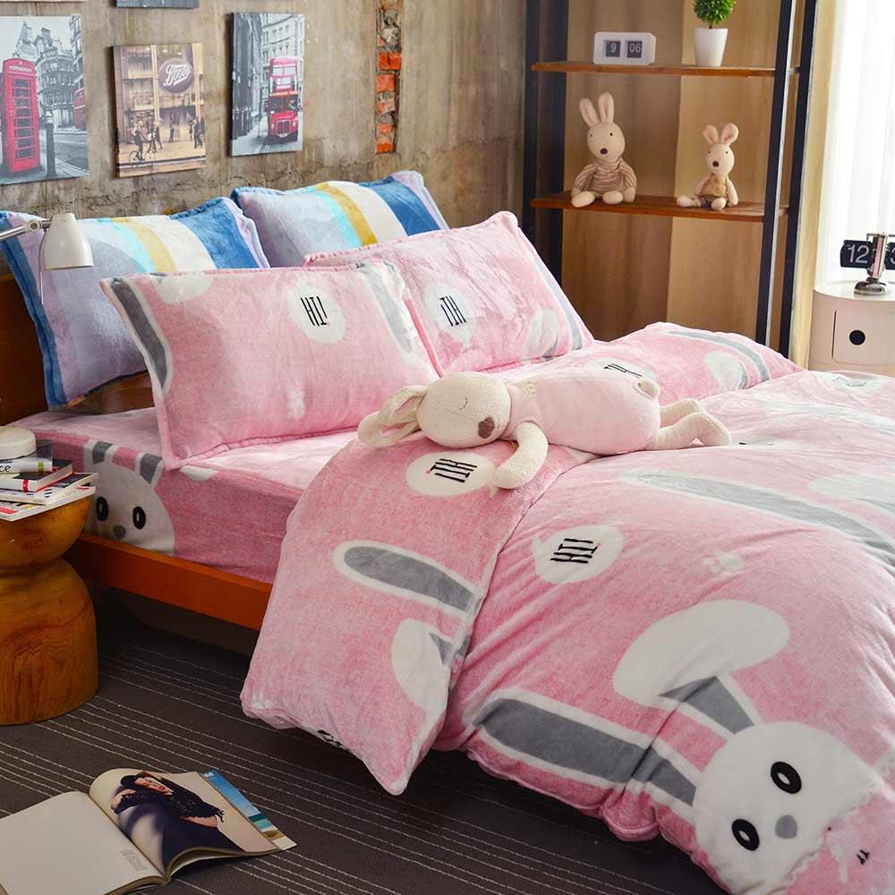 Ania Casa 超保暖法蘭絨-加大床包被套四件組-俏皮兔
