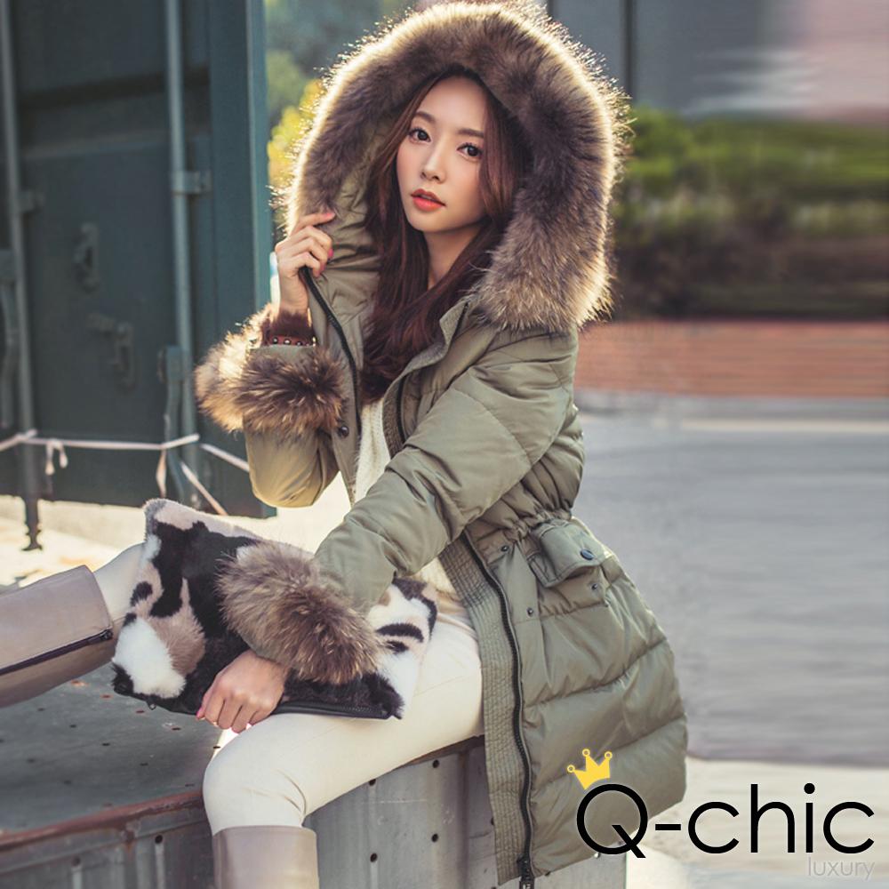 保暖羽絨貉子毛邊長版外套 (共五色)-Q-chic