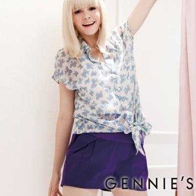 Gennies奇妮-雪紡蝴蝶印圖無袖上衣(G3305-藍)