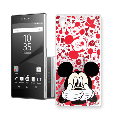 迪士尼 索尼 Xperia Z5 Premium 大頭背景透明手機軟殼(摀嘴米奇...