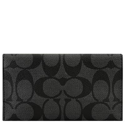 COACH-黑色大C-PVC-五卡中夾