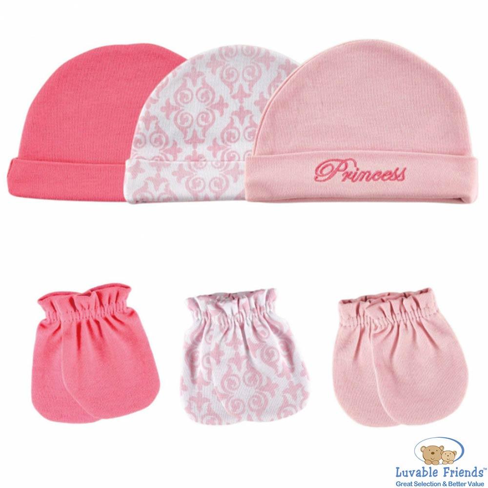 Luvable Friends 公主粉圖騰帽子手套6件組