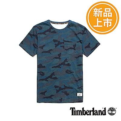 Timberland-男款藍色品牌LOGO短T恤
