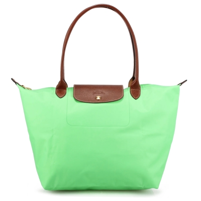 Longchamp 折疊大型長提把水餃包-蘋果綠