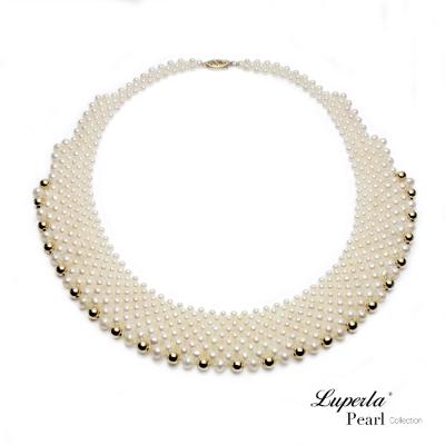 大東山珠寶 天然珍珠14K金珍摯項鍊 歐美古典編織珠寶