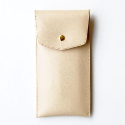 PLEPIC 珍愛仿皮金釦筆袋-奶油米白