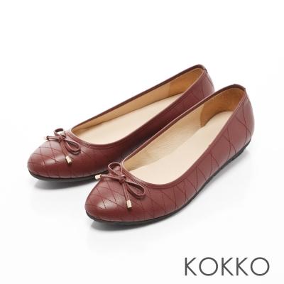 KOKKO-經典菱格紋真皮蝴蝶結平底鞋-玫瑰紅